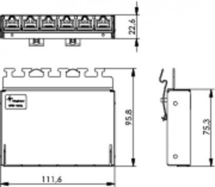 ( J02021A0055 ) Panel krosowy 6-portowy RJ45 kat.6A na szynę TH35 - ekranowany