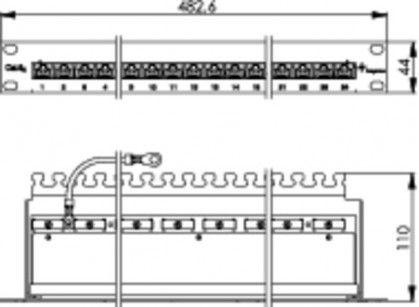 """( J02023A0051 ) Panel krosowy 19"""" 24 porty RJ45 kat.6A - nieekranowany"""