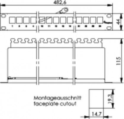 """( H02025A0167 ) Obudowa panelu krosowego 19"""" na 24 moduły Keystone"""