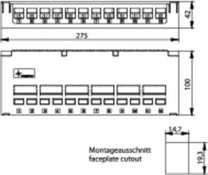 ( H02000A0081 ) Obudowa panelu krosowego desktop na 12 modułów Keystone