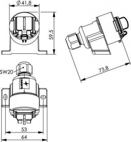 ( J00020A0436 ) Gniazdo natynkowe RJ45 kat. 6A STX V6 AP - ochrona IP67