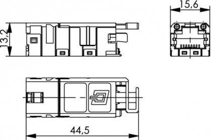 ( J80029A0001 ) Gniazdo przemysłowe RJ-45 kat. 6A ekran STX