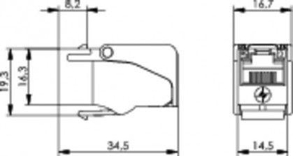 ( J00029A0088 ) Gniazdo RJ-45 keystone kat.5e nieekranowane