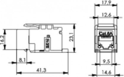 ( J00029K0078 ) Gniazdo RJ-45 keystone kat. 6A nieekranowane