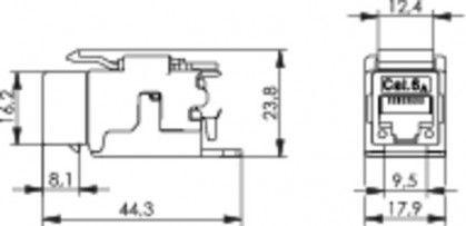 ( J00029B0077 ) Gniazdo RJ-45 keystone kat. 6A ekran odlew