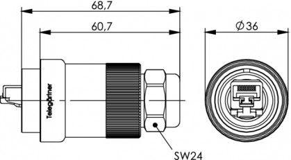 ( J60026A0000 ) Wtyk RJ45 kat.6A MFP8 TOC - mosiądz IP68