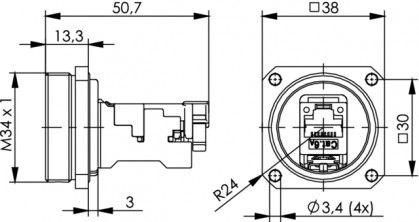 ( J60020A0000 ) Gnizado RJ45 kat.6A TOC - mosiądz IP68