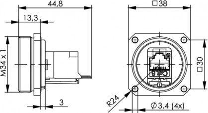 ( J60020A0002 ) Gnizado RJ45 kat.6 TOC - mosiądz IP68