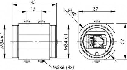 ( J60029A0000 ) Łącznik RJ45 kat.6 TOC - mosiądz IP68
