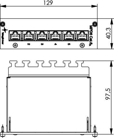 ( J02021A0054 ) Mini dystrybutor 6xRJ45 kat.6A MPD6-HS 3HU/8PU