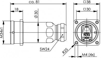 ( J60023A0000 ) Gnizado RJ45 kat.6A TOC zewnętrzne - mosiądz IP68