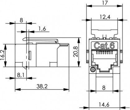 ( J00029K0051 ) Łącznik / beczka F-F ekran kat.5e