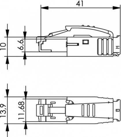 ( J80026A0001 ) Wtyk RJ45 kat.6A ekran STX IP20 czarny
