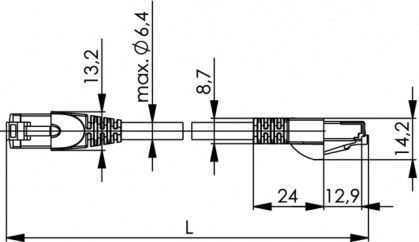 ( L00000A0146 ) Patch Cord Kat.7 S/FTP 4x2xAWG 27/7 PVC - 1m.