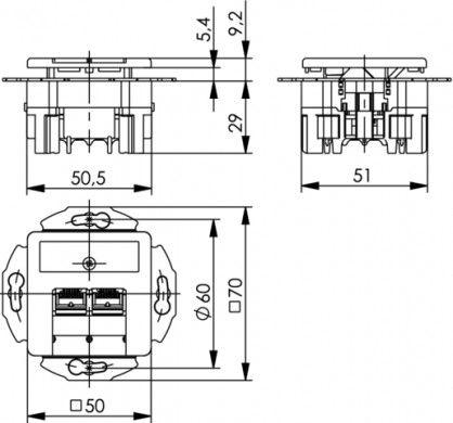 ( J00020A0508 ) Gniazdo podtynkowe zespolone 2xRJ45 kat.6A