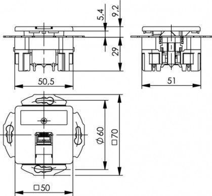 ( J00020A0509 ) Gniazdo podtynkowe zespolone 1xRJ45 kat.6A